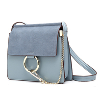 Grey Women Leather Handbags Large 2018 Circle Ring Chain Suede Bags for Girls Sac A Main Women Shoulder Bags Messenger Bag