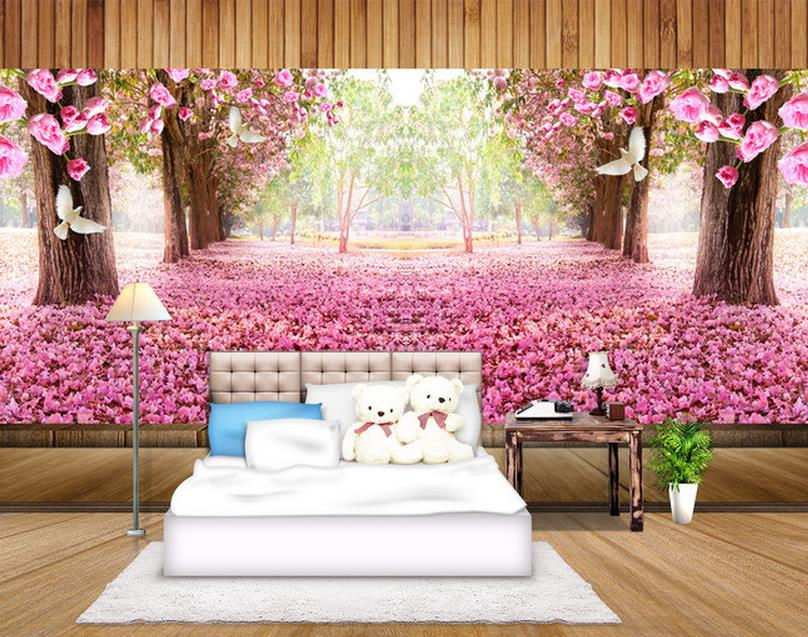 Cherry Blossoms Background Wall Painting Wallpaper For Walls Home