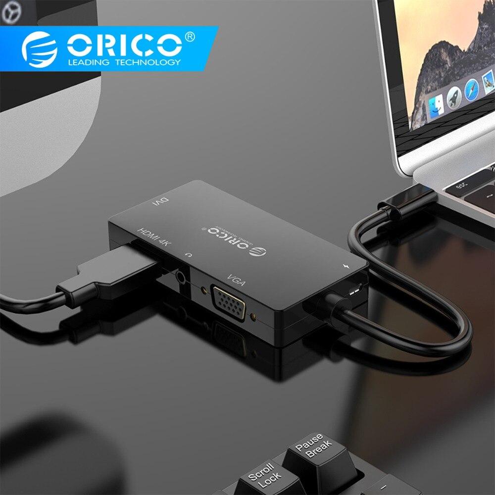 ORICO XD-107 Type C Port vidéo Station d'accueil type-c vers DVI + HDMI + VGA + 3.5mm adaptateur de prise Audio pour PC tablette d'ordinateur portable
