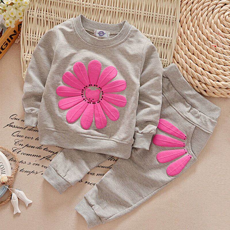 Fall spring kids lady sunflower outfits tops and pants two piece set toddler lady garments boutique children clothes princess Clothes Units, Low-cost Clothes Units, Fall spring kids lady sunflower...
