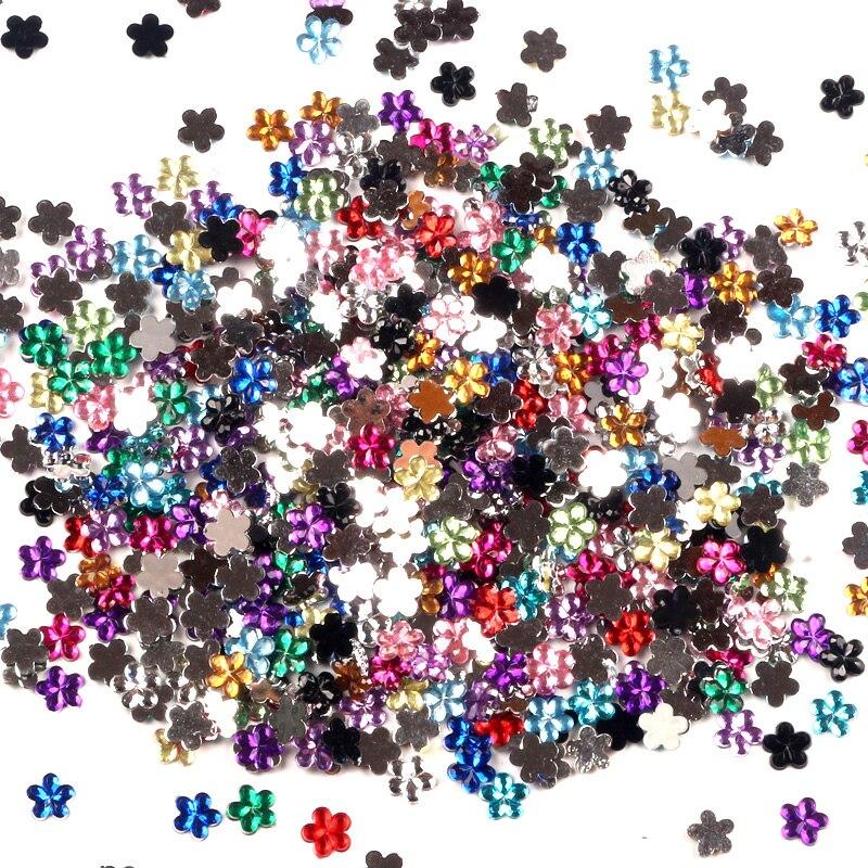 1000 шт. смешанный цветок акриловые украшения ремесла бусины Кабошоны для скрапбукинга DIY для одежды детали для украшений