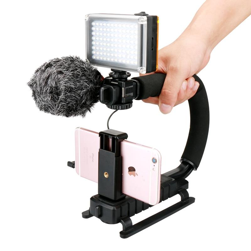 Ulanzi U-Grip Smartphone Vidéo Grip Kit avec BOYA BY-MM1 Microphone 96 LED Vidéo Lumière Batterie Universel Téléphone Clip pour iPhone 7