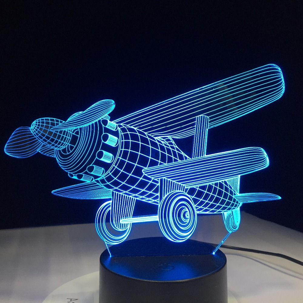 Glider Plane 3D LED Lamp 7 Color Change Touch Switch Small Night Light Atmosphere Lamp Bedroom Light For New Year Gift Home Deco