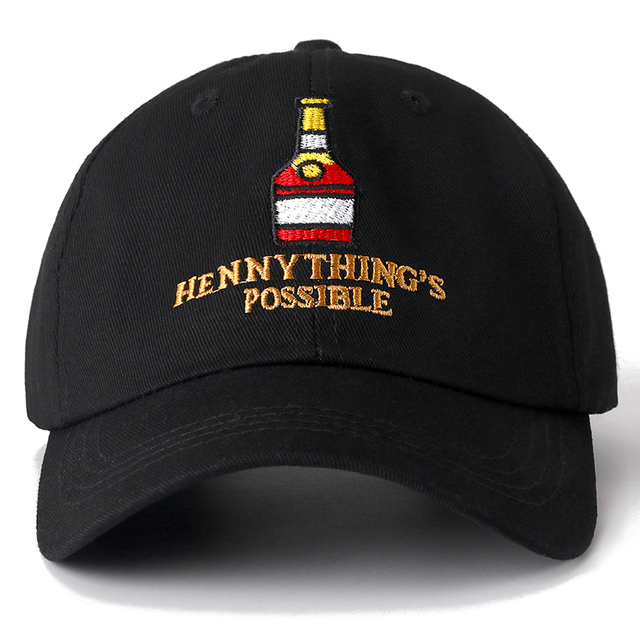 cdaf0beabe1 New Henny Wine Bottle Embroidery Dad Hat Men Women Baseball Cap adjustable  Hip Hop Snapback Hat High Quality Cap