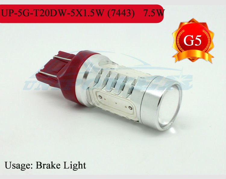 FREE Shipping super brightness High power LED brake light T20D 7443 7.5W car taillight CREE chips 5 sides lighting DC12-24V