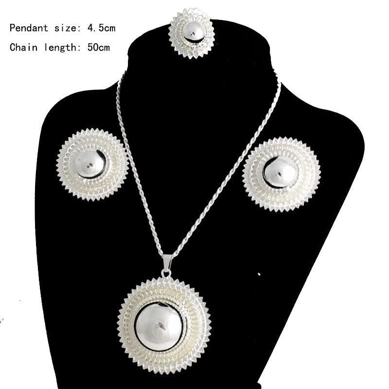 Ethiopia Shamty Ukuran Besar Bridal Jewelry Set Untuk Wanita Afrika - Perhiasan fashion - Foto 3