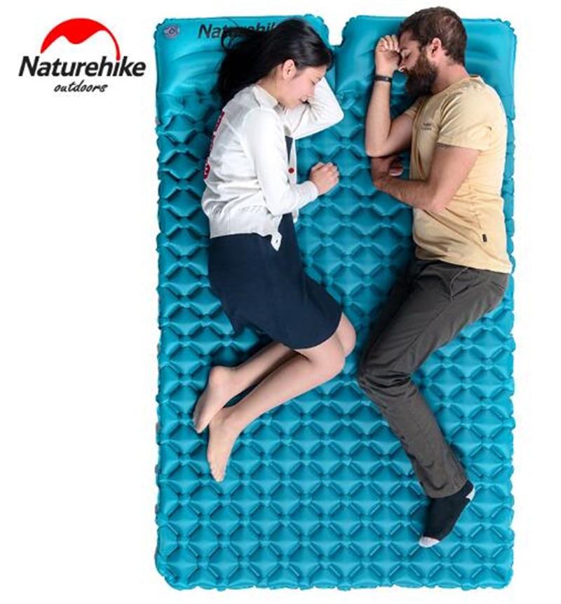 Natte de couchage Portable ultra-léger pour 2 personnes avec oreiller tente de Camping en plein air matelas gonflable imperméable à l'humidité
