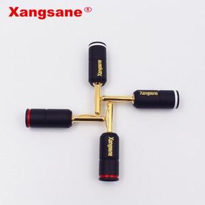 Image 4 - Xangsane 4 pièces haute Performance pur rouge cuivre plaqué or banane serrure prise HiFi haut parleur banane connecteurs