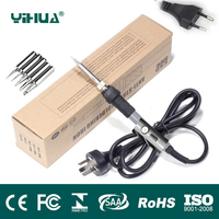 YIHUA US EU Plug 110V 220V 60W Temperature Adjustable Electric Welding Solder Soldering Iron Handle Heat