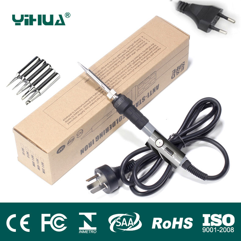 YIHUA US EU Plug 110V/220V 60W Temperature Adjustable Electric Welding Solder Soldering Iron Handle Heat Pencil With 5pcs Tips