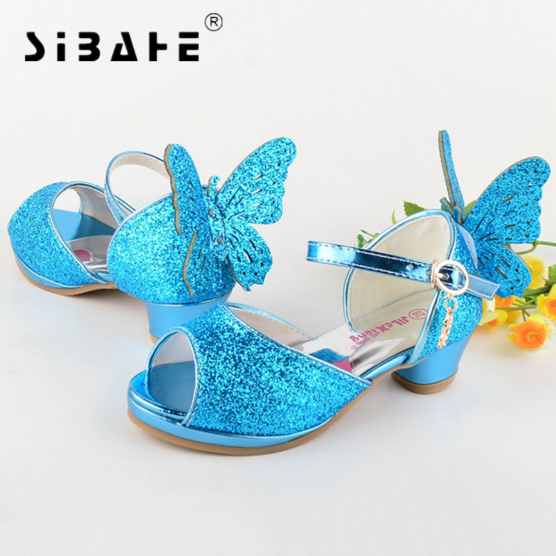 Sibahe Girls Sandals Princess Shoes Children High Heels Wedge Shoes 3D Butterfly Glitter Kids Shoe Party Dance Sandals For Girls