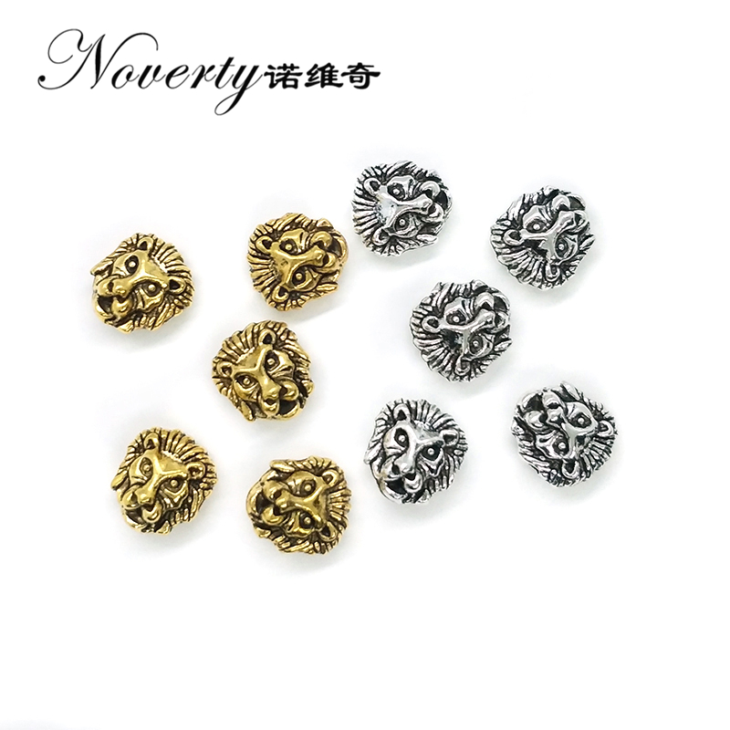 New 10pcs/lot 12MM Zinc Alloy Gold Silver Lions Head Shape Charms Beads Fit for Bracelet Necklace Crafts Making DIY Accessaries