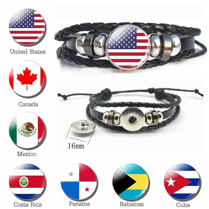 United States Flag Bracelet Fashion Men black leather bracelet American, Canada, Costa Rica, Mexico Flag Snap Button Bangle