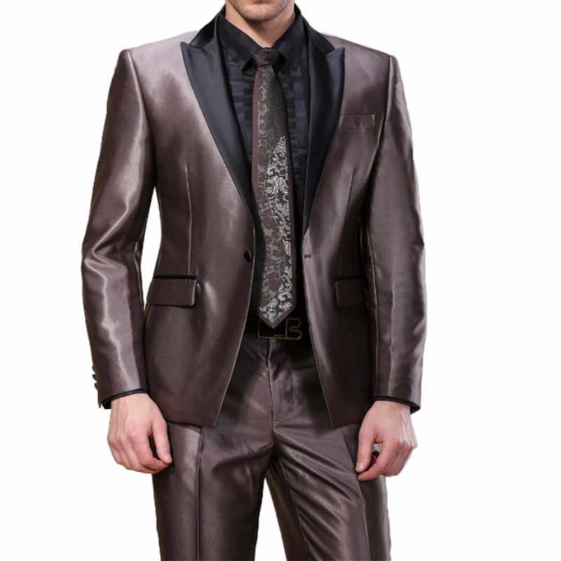 TPSAADE 2020 New Arrival Customized Size Buiness Mens Suit Smooth Shiny 2 Piece (Jacket+Pant) For Wedding Party Prom Occasion