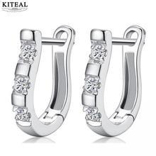 Kiteal Austria Crystal Fashion Novel Silver U shape Women\s Hoop Earrings For Women Party Dance Charming Jewelry Accessories