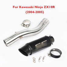 Ninja ZX10R Motorcycle Exhaust Pipe Muffler Mid Link Tube Pipe Exhaust System Slip on for Kawasaki Ninja ZX10R 2004 2005 ZX10-R