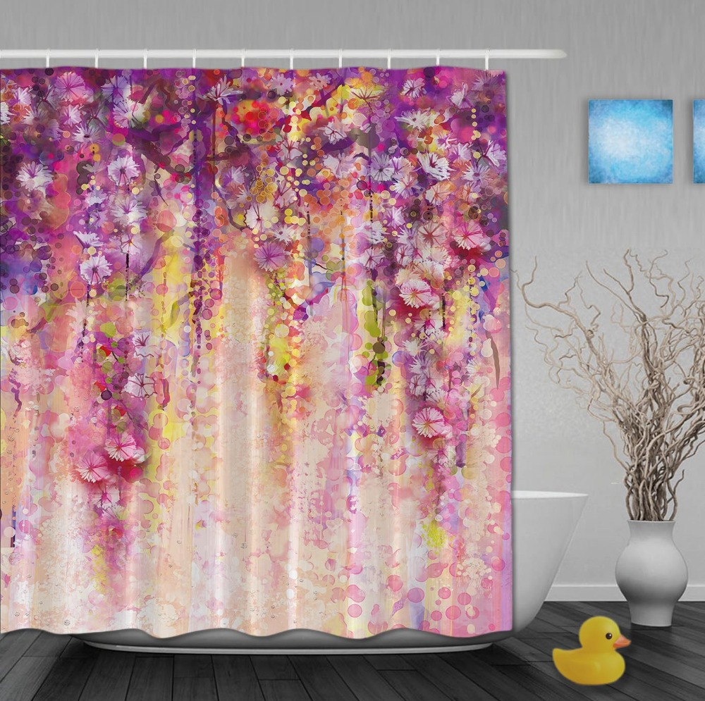 Custom Watercolor Drawing Flower Waterfall In Shinny Spring Shower Curtains Waterproof Fabric