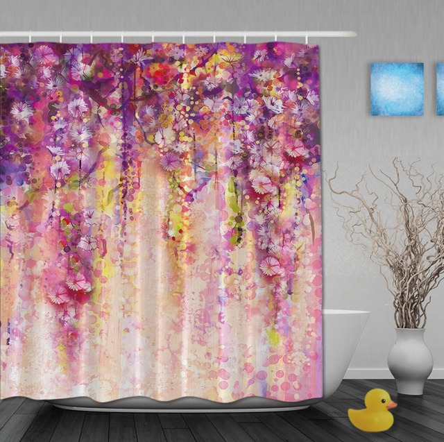 Custom Watercolor Drawing Flower Waterfall In Shinny Spring Shower Curtains Waterproof Fabric With Hooks Bathroom Curtain