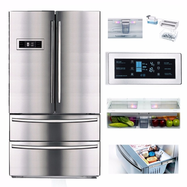 Smad 21 Cu Ft Counter Depth French Door Refrigerator Freezer Auto Ice Maker Stainless Steel With
