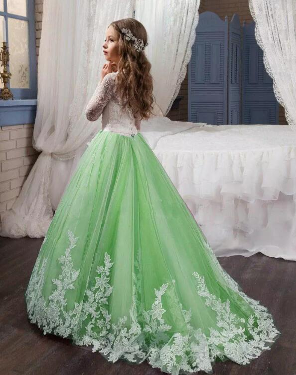 цена на Green White Applique Flower Girls Dresses Lace with Bows Pageant Gowns for Kids Pageant Gown Free Shipping