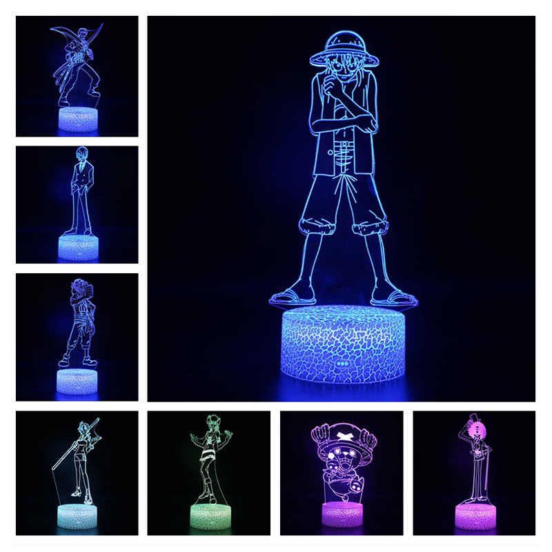 One Piece 7 Colors Changing Table Action Figures Lamp 3D USB Led Illusion Desk Light Luffy Zoro Nami model toys Christmas Gift