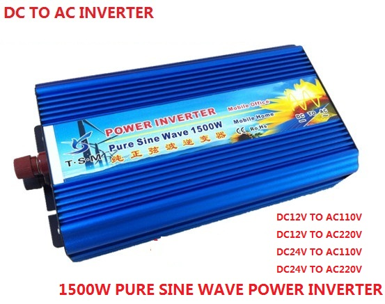 цена на 1500W Pure Sine Wave Inverter dc input 12V/24V to ac output 120v/230v Peak Power digital display 3000W inverter