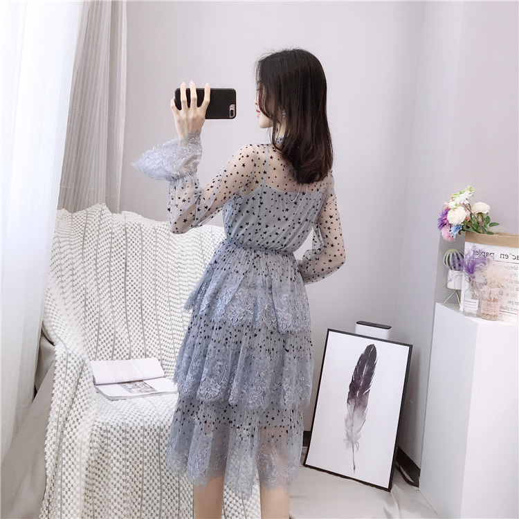 ALPHALMODA 2019 Spring Fur Collar Sweet Bow Stars Print Long-sleeved Multi-layer Women Princess Chiffon Dress + Sling 2pcs Set 11
