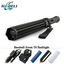 가장 강력한 led 손전등 휴대용 t6 텔레스코픽 배턴 전술 토치 배턴 플래시 라이트 자기 방어 18650 또는 AAA 3800 루멘