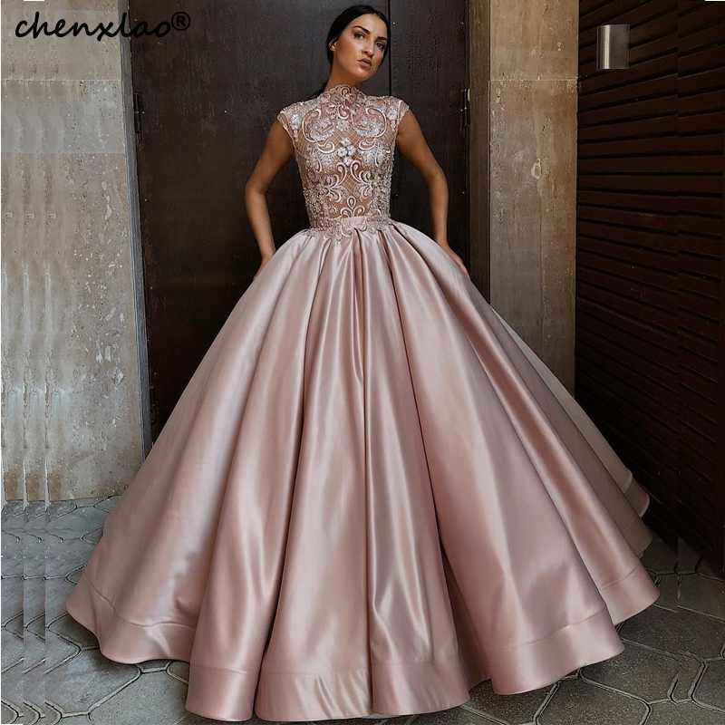 Elegant Ball Gown Evening Dresses 2019 Jewel Neck Cap Sleeves See Through Sexy Evening Dress Long Formal Party Gowns Vestidos