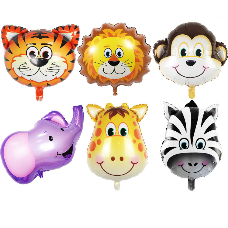 JUNGLE SAFARI ANIMALS BALLOONS - 6pcs 22 Inch Giant Zoo Animal Balloons Kit For Big Safari Party Theme Birthday Decoration