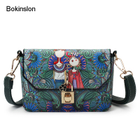 Bokinslon Woman PU Leather Crossbody Bag Individuality Printing Ladies Brand Bags Fashion Popular Girls Shoulder Bags