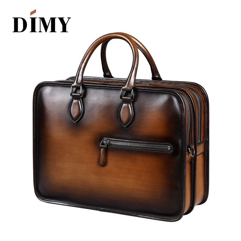 c2a4aae1f286 Handmade Leather Briefcases For Men/ Attache 15 Inch Laptop Case/ Office Work  Bags/ Double Zip Open Tote Shoulder Bag patina new-in Briefcases from  Luggage ...