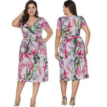 Big size summer 2019 women clothes 6xl Casual short sleeve v neck printed wrap dress Plus size dresses for women 4xl 5xl 6xl(China)