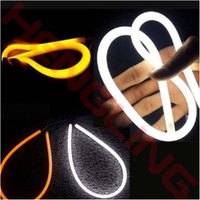 2PCS 60CM 12V White Yellow LED Daytime Daylight Running Light Tube Flexible LED Strip DRL Switchback