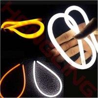 2PCS 60CM 12V White Yellow LED Daytime Daylight Running Light Tube Flexible LED Strip DRL Switchback