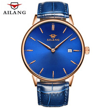 AILANG Brand Men's Watches Simple Dress Quartz Watch Men Genuine Leather Strap Automatic Mechanical Watch Ultra-thin ultra clock