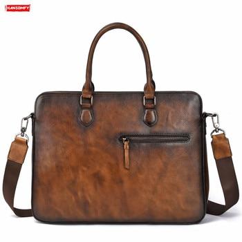 "New retro business men briefcase genuine leather computer shoulder bag first layer leather men's cross 14"" laptop messenger bag"