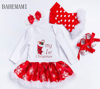Christmas Baby Clothes Snowflake Long Sleeve Newborn Romper Dress Baby Girls Clothes 4pcs Set 2018 New