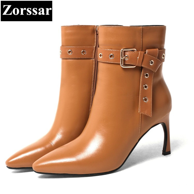 {Zorssar} 2018 Autumn winter Ladies shoes fashion buckle Genuine Leather sexy thin heel ankle boots women High Heels Short boots high quality genuine leather women shoes spring and autumn high heels women boots hollow out lace ladies fashion boots