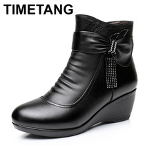 TIMETANG  New 2017 Women Boots women Genuine Leather Winter Boots Warm Plush Autumn Shoes Winter Wedge Shoes Woman Ankle Boots