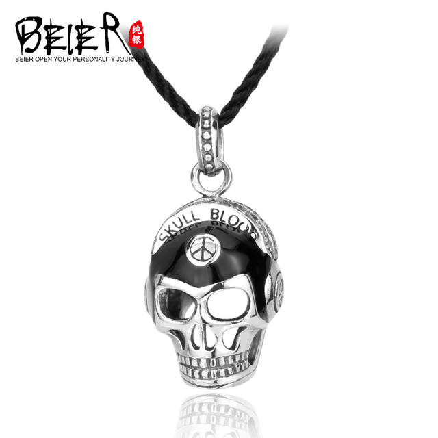 BEIER 925 silver skull mask pendant necklace punk men in Europe and America retro jewelry pendant A2108