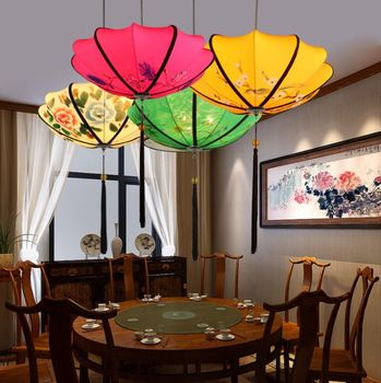 Creative new Chinese chandelier Chinese style fabric lantern red retro hotel restaurant aisle hot pot restaurant tea house lamps