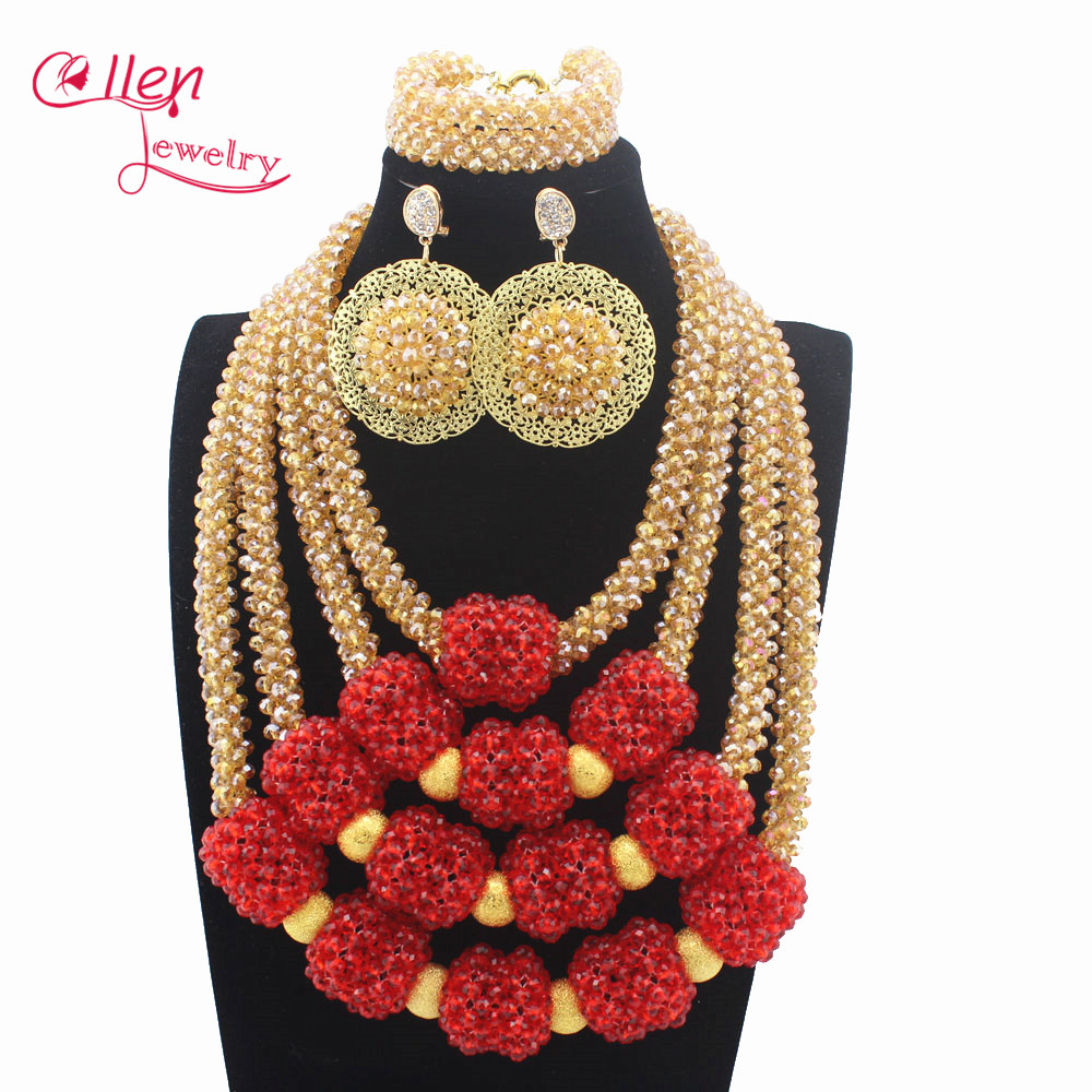 New Handmade Red Wedding African Bold Beads Jewelry Set Nigerian Bridal Costume Necklace Set Gift Free Shipping W13514New Handmade Red Wedding African Bold Beads Jewelry Set Nigerian Bridal Costume Necklace Set Gift Free Shipping W13514