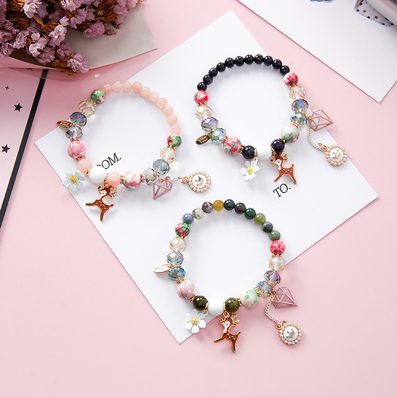 Bohemia Ethnic Style Sweet Girl Flowers Stone Deer Imitation Pearl Crown Beads Bracelets for Women Fashion Jewelry Accessories