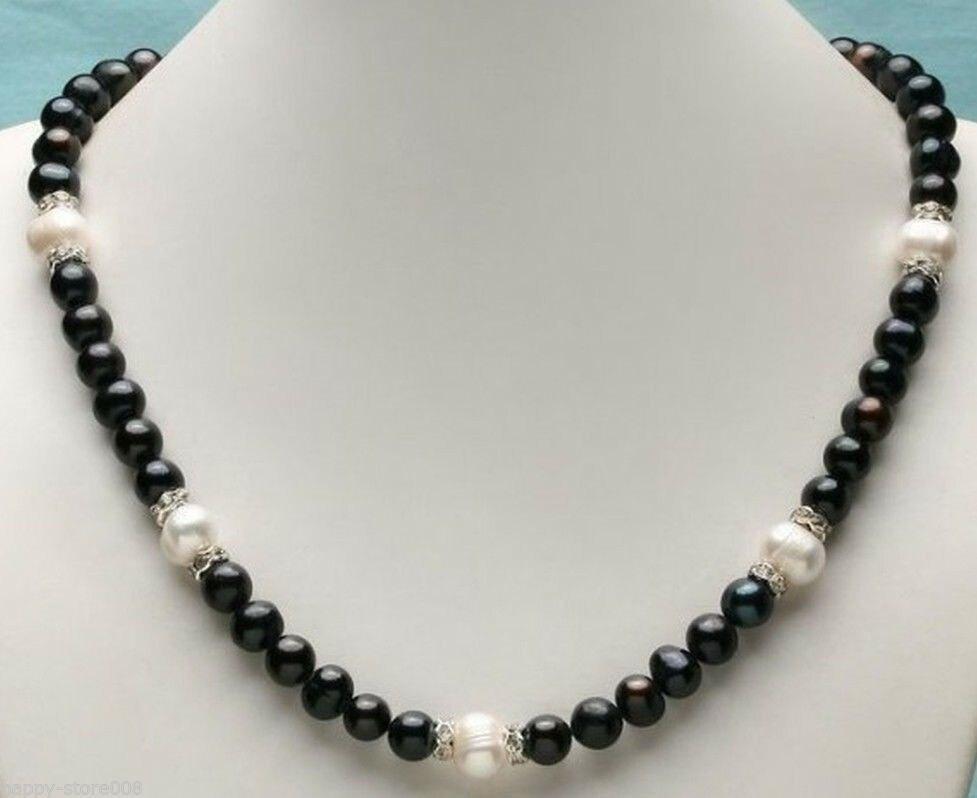 Beauty AAA 9-10mm south sea black white pearl necklace 18 925silver GoldBeauty AAA 9-10mm south sea black white pearl necklace 18 925silver Gold