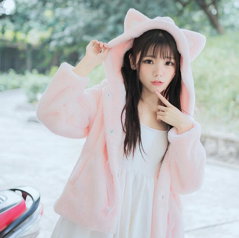 Winter Hoodies Women Zipper Cute Fake Fur Girls Lolita Cat -3710