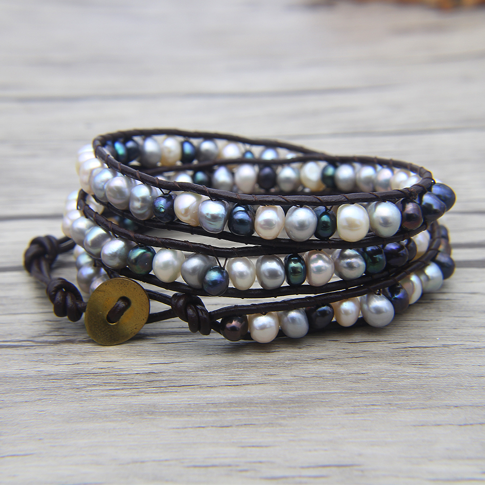 Boho pearl beads bracelet leather wraps bracelet Boho beaded bracelet gypsy grey pearl jewelry bohemian купить в Москве 2019