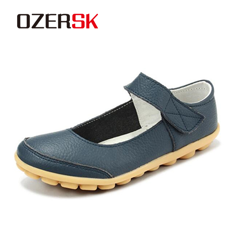 OZERSK Brand Summer Soft Comfortable Split Leather Woman Flats Shoes Leisure Ballet Footwear Hollow Out Shoes Plus Size 35~43