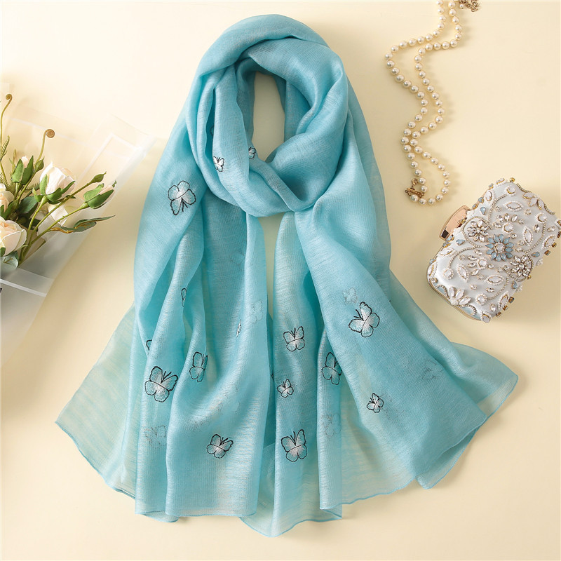 2018 new style brand high quality women scarf spring summer silk scarves wool lady shawls and wraps Embroidery pashmina