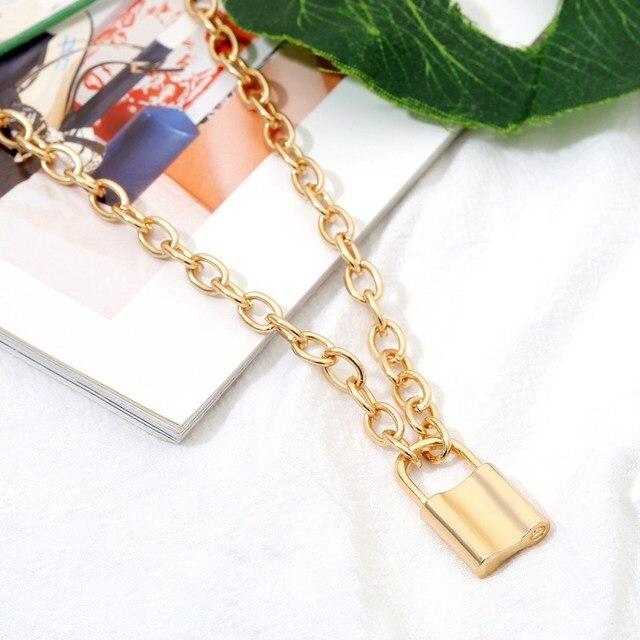 Kobiety biżuteria złoty kłódki wisiorek naszyjnik New Big Rolo kabel kolii Punk oświadczenie biżuteria przyjaźń prezent